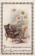 Man Smoking Pipe Woman's Face In Smoke Love's Young Dream - Men