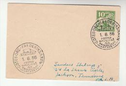 1956 SWEDEN Postal STATIONERY COVER Pmk 'MS PRINCESSAN MARGARETHA Goteborg Frederikshausen' SHIP To USA Stamp Lion Lions - Ships