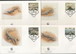 Bangladesch 1990 WWF Gangesgavial Ersttagsbriefe 323/26 FDC (X11639) - Bangladesch