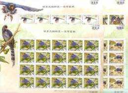 Taiwan 2008 Conservation Of Birds Stamps Sheets - Blue Magpie Bird Forest Tung Flower Bug