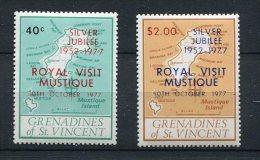 St Vincent Grenadines 1977 Sc 127-8 MNH Overprint Silver Jubilee Stamps - Koniklijke Families