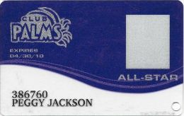 Palms Casino Las Vegas NV - PRINTED All-Star Slot Card (Clear Bottom) Exp 04/30/10 - Casino Cards