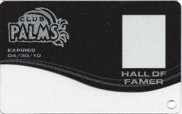 Palms Casino Las Vegas NV - BLANK Hall Of Famer Slot Card (Clear Bottom) Exp 04/30/10 - Casino Cards