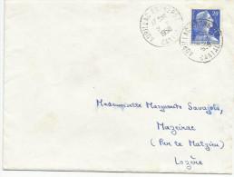 OBLITERATION MANUELLE DE AURILLAC ENTREPOT (CANTAL) 1958 - Marcophilie (Lettres)