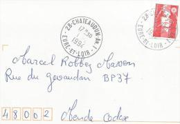 OBLITERATION MANUELLE DE CHATEAUDUN An. 1 (EURE ET LOIR) 1994 - Marcophilie (Lettres)