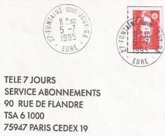 OBLITERATION MANUELLE DE FONTAINE SOUS JOUY - GA (EURE) 1995 - Marcophilie (Lettres)