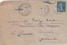 Yvert  140 Semeuse Type 1B ? Sur Lettre Arles Sur Rhône 1921 Pour St Gervais  Cachet Perlé Gironde Réexpédiée Arcachon - Francia