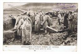 CPA MILITARIA Artillerie Lourde Serbe En Action - Ausrüstung