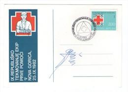 YUGOSLAVIA SLOVENIJA NOVA GORICA 1982 PRVA POMOC FIRST AID RED CROSS COMMEMORATIVE CARD POSTMARK SLOVENIA - Slovenia