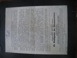 Grand Faire Part De Décès Déportation, Déporté Politique Belge, Mort Le 22 Octobre 1944 à Mauthausen - Documents