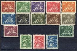 SWEDEN 1924 UPU Anniversary Set LHM / *.  Michel 159-73, Facit 211-24 - Sweden