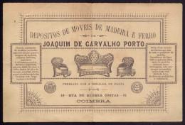 1895 Folheto Publicidade MOVEIS De MADEIRA E FERRO Rua De Quebra Costas COIMBRA / PORTUGAL - Coimbra