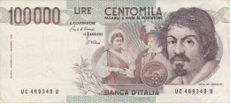 BILLETE DE ITALIA DE 100000 LIRAS DEL AÑO 1983 SERIE UC DE CARAVAGGIO (BANKNOTE-BANK NOTE) - 100000 Lire