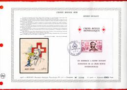 """MONACO 1978 : Document Artistique Philatélique Nté / Soie (2300 Ex) """" CROIX-ROUGE HENRI DUNANT """" N° YT BF 15 Parf. état."""