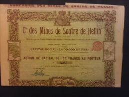 1 Cie Mines Soufre De Hellin Siège Bruxelles Action Décoré - Azioni & Titoli