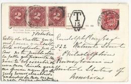 USA / GB - 1904 - CARTE De CHELTENHAM Pour PHILADELPHIA Avec SUPERBE TAXE US - Covers & Documents