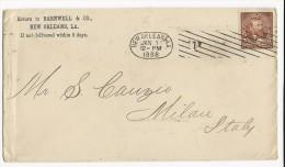 USA - 1898 - ENVELOPPE De NEW ORLEANS Avec MECA Pour MILAN (ITALIE) - Marcofilia
