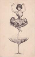 Dance Ballerina Dancing On Martini Glass