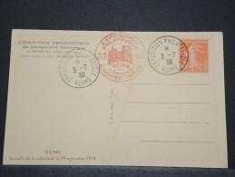 FRANCE - Carte De L´Exposition Philatélique De Reims Avec Cachet Du Congrès - Juil 1938 - A Voir - P16818 - Marcophilie (Lettres)