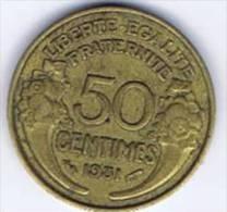 1  Pièce 50 Centimes Morlon Bronze-alu 1931 - G. 50 Centimes