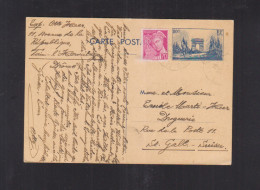 France CP 1940 Pour La Suisse - Biglietto Postale