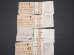 FRANCE - Lot De 5 Tickets SNCF Anciens - 3è Classe - A Voir - P16740 - Subway