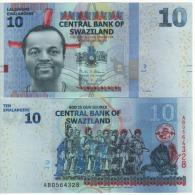 SWAZILAND New  10  Emalangeni    (P36b)  NEW DATE   1.1.2014    UNC - Swaziland