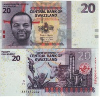 SWAZILAND New  20  Emalangeni    (P37b)  NEW DATE   1.1.2014    UNC - Swaziland