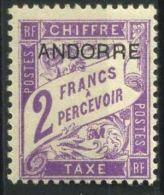 ANDORRE ( TAXE ) :  Y&T N°  7  TIMBRE   NEUF  AVEC  TRACE  DE  CHARNIERE , A  VOIR .
