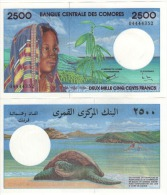 COMOROS  Attractive 2500 Francs ( Sea Turtle )   P13   ND  1997    UNC - Comoros