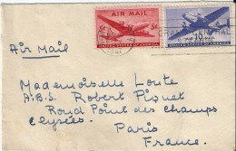 Enveloppe  -  Cachet  Au  Depart  De  New - York   à  Destination  De  Paris - Amérique Centrale