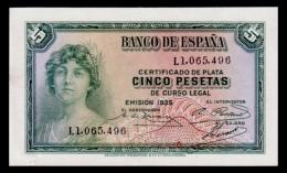 Spain 5 Pesetas 1935 UNC- - [ 2] 1931-1936 : Republic