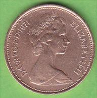 GRANDE BRETAGNE ELIZABETH II    2 NEW  PENCE   ANNEE 1971    LOT100378 - 1971-… : Monnaies Décimales