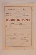 Bulletin De Distribution De Prix, Ecole Publique De Garçons, Romilly Sur Deine, Aube, Le 9 Juillet 1955 - Diplômes & Bulletins Scolaires