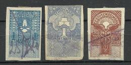Estland Estonia 1919 Documentary Stempelmarken Tax 1 & 3 Marka O - Estonia
