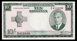 Malta 10 Shillings 1949 (1951) P.21 AUNC - Malta