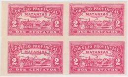 REP-16 CUBA REPUBLICA REVENUE. MATANZAS LOCAL STAMP. 2c BLOCK 4 IMPERFORATED. - Timbres-taxe