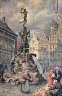 BELGIQUE - ANVERS - ANTWERPEN - Le Monument Brabo - Het Brabo Monument. (illustration 1914) - Antwerpen