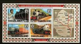 SWAZILAND, 1984, Mint Never Hinged Block Nr 11, Railways, 466-469, F5337 - Swaziland (1968-...)