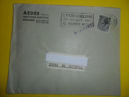BUSTA PUBLICITARIA    AEDES   Macchine Agricole  Con ANNULLO TARGHETTA   X  FIERA DI BOLZANO 1957 - Trattori