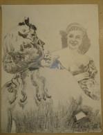 Dessin Au Crayon 1953 -jeune Femme (2) - Dibujos