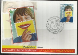 ITALIA REPUBBLICA ITALY REPUBLIC 2004 GIORNATA DELLA FILATELIA STAMP DAY FDC CARTOLINA MAXIMUM CARD MAXICARD - Cartes-Maximum (CM)