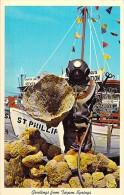 METIERS : Pêche Aux Eponges ( Sponges Fishing ) Sponge Diver With His Fine Catch Of Sponges - Scaphandrier - CPSM PF - Pesca