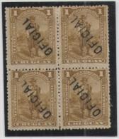 URUGUAY - 1895-1900 - 4 X 1c Block - Inverted Overprint - Overprinted Oficial - New - Uruguay
