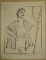 Dessin Au Crayon 1951 -jeune Femme (2) - Dessins