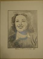 Dessin Au Crayon 1951 -Madeleine Svoboda, Dite Madeleine Robinson, Est Une Actrice Franco-tchèque  (2) - Dessins