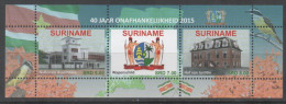 SURINAME, 2015, MNH, 40 YEARS INDEPENDENCE, NATIONAL ASSEMBLY, COAT OF ARMS, BIRDS, SHEETLET OF 3v - History