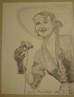 Dessin Au Crayon 1951 -Jacqueline Plessis, Née Le 11 Novembre 1918 Au Havre (2) - Dessins