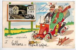 """CARTE FANTAISIE """" Bien Arrivés à VOLLORE MONTAGNE """" (63) - En Médaillon Hôtel Du Pont Avec 2 CV - France"""