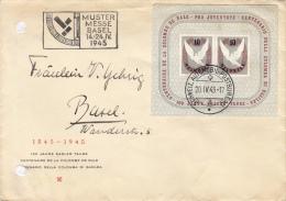 Centenaire De La Colombe De Bâle Sur Lettre / Schw. Automobile-Postbureau 20.IV.1945 / Cote 180.- CHF - Blocchi & Foglietti